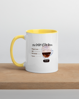 """The Order of the Bean"" Mocha Mug with Color Inside"
