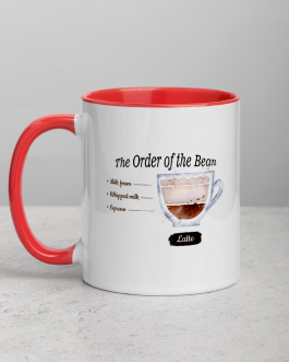 """The Order of the Bean"" Latte Mug with Color Inside"